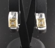 18 kt bi-colour gold creole earrings with brilliant cut diamond, 0.04 carat, diameter 16 mm, width 6.8 mm