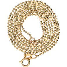 14 kt yellow gold ball link necklace - Length: 50 cm
