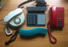 Four decorative telephones including Bang & Olufsen
