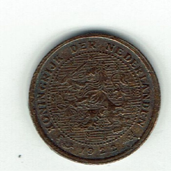 The Netherlands - ½ cent, 1922, overstrike 1921, Wilhelmina - bronze