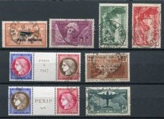 France 1927/37 – Selection of semi-classic and airmail stamps – Yvert no. 256, 262, 348/51, 354/55, 321, Yvert (PA) 1