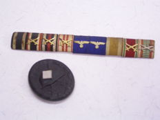 Various Awards 3rd Reich: Field clasp with 9 awards, 3rd Reich, Wehrmacht; Wounded badge for the army 1939