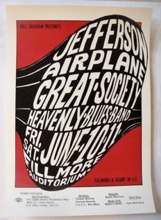 Jefferson Airplane / Great Society Fillmore Auditorium Poster San Francisco 1966