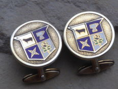 A pair of antique silver cufflinks with enamel coat of arms: Fenwick and Sailors England