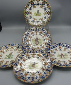Five French coloured wall plates