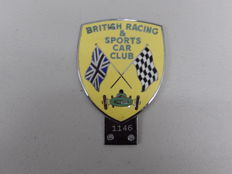 Vintage Chrome British BRSCC Racing and Sports Car Club  Enamel 1960's Heavy Car Auto Badge Numbered 1146