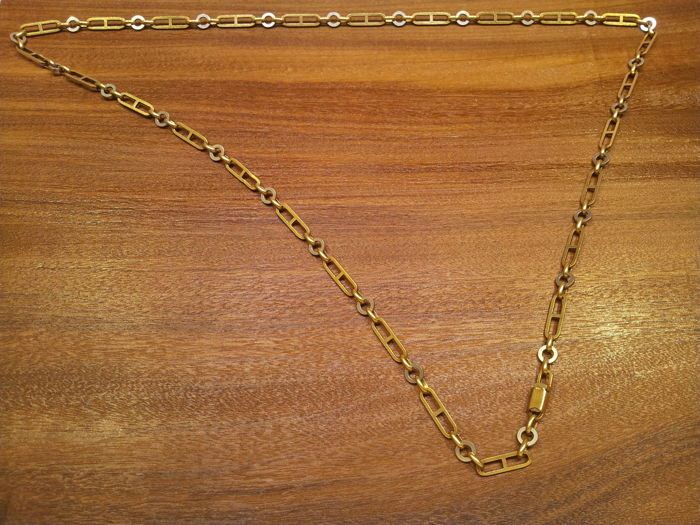 Necklace in two tones of 18 kt gold 38 g