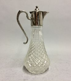 Cut glass decanter for red wine with silver plated mounting, so-called. claret jug, England, ca. 1925