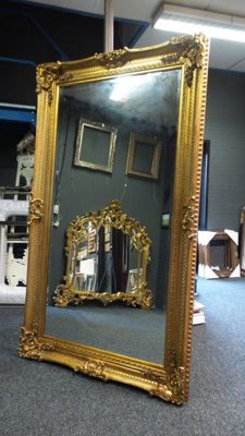 Imposing Baroque mirror - facet cut glass -hand gilded -135x235 cm