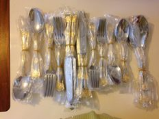 Royal Albert old country roses gold plated 12 places complete cutlery bridal wedding