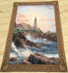 a machine woven Thomas Kinkade Pictorial Large Tapestry - Gobelin Canvas with Awesome Scene - America - 198 cm x 133 cm. 20th century