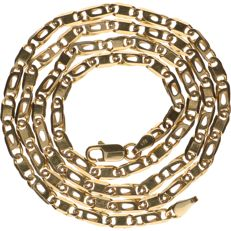 14 kt yellow gold figaro link necklace - length: 50 cm