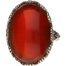 Silver ring set with carnelian - Ring size: 17.25 mm