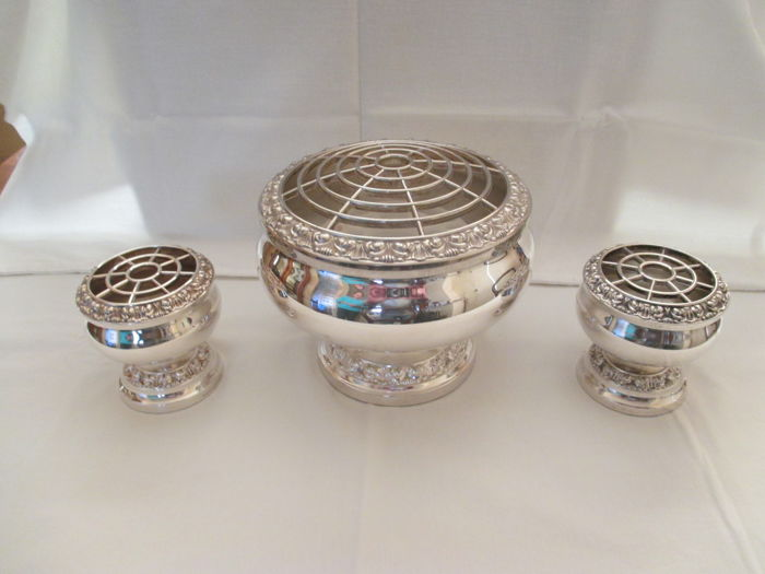 Set of Three silver plated Rosebowls
