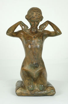 Fonderie Pierre Chenet - bronze sculpture of a female nude with a necklace - France - 20th century