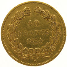 France - 40 Francs 1834A Louis Philippe I - gold