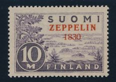 "Finland - 1930 - zeppelin 10 M with overprint mistake ""zeppelin 1830"" (instead of 1930) signed Bloch, Stolow and photo attestation Lasse Nielson, Facit 165v."