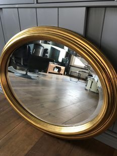 Gold-plated baroque mirror with facet, gold