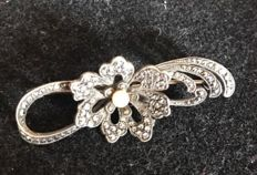 French Platinum Marcasite Brooch