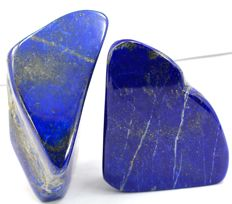 Finest Quality, hand-polished Royal Blue Lapis Lazuli with Pyrite Tumble - 107 and 90mm - 886gm (2)
