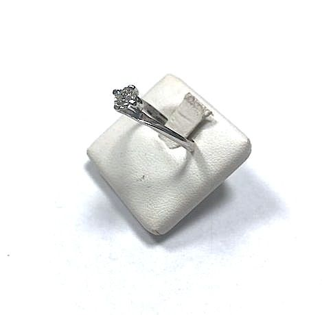 Ring in 18 kt white gold with natural diamond, 0.39 ct, size 16 - free resizing