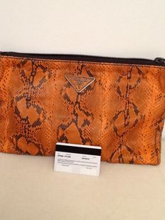 Prada - Orange snakeskin clutch bag