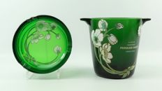 Glass champagne cooler and ashtray of Perrier Jouët with hand-painted Emile Gallé art nouveau style decor - 2nd half of 20th century, France
