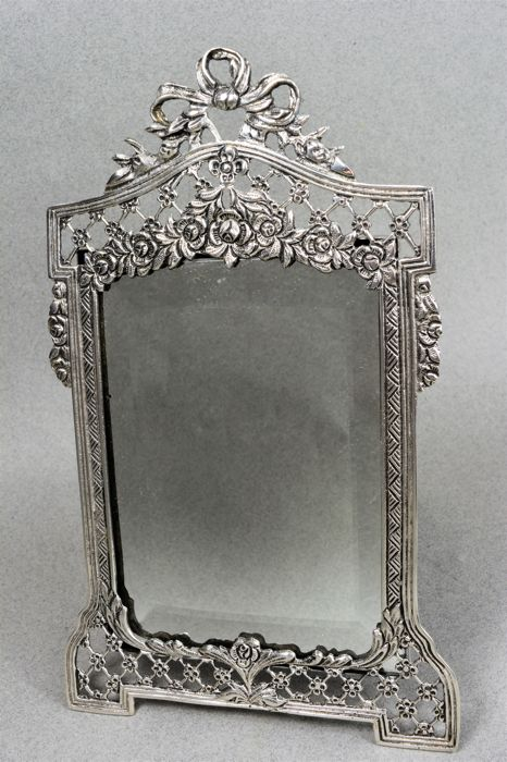 Sterling silver armoire mirror, silver 800/1000, Italy, mid-20th century