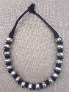 Indian necklace with antique, 925 silver beads - late 1900s