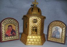 Bronze gilded,oil Church Chapel lamp,with icons -20th century