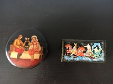Two Russian lacquer miniature boxes