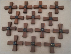 Stylised stations of the cross in wood and bronze - origin unknown - 1950s