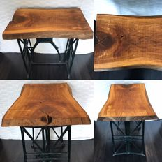 Oak table with old cast iron Pfaff sewing machine base