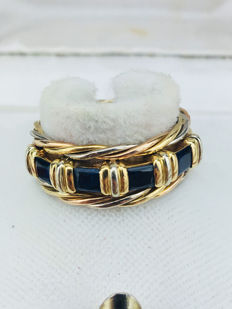 Cartier - Set of three Cartier rings, 18 karat gold and Sapphire, size: 6 US.