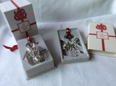 Two silver plated Christmasornaments, Christofle France 1985 / 1986