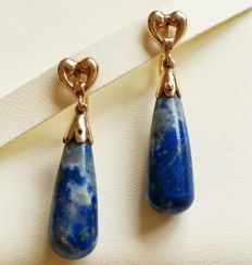 1960 Earrings in rose gold with a pair of lapis lazuli drops