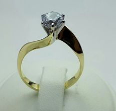 14 Ct Gold Ladie's Solitaire Ring With Cubic Zirconia,  Size 16.50, Total 2.92g