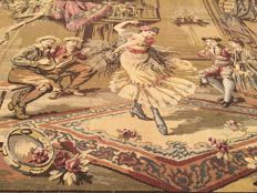 A machine woven tapestry with 18th Century Live Scenes - Mid of 20th Century - France - 170 cm x 103 cm