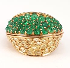 Half-n-Half Diamond (2.56 carats) and Emerald (2.30 carats) Ring in 18 kt Rose Gold- FREE SHIPPING