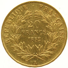 France – 20 Francs 1852A Louis Napoleon Bonaparte – gold