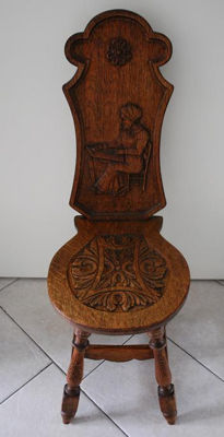 Old Dutch (carved) wooden kitchen chair