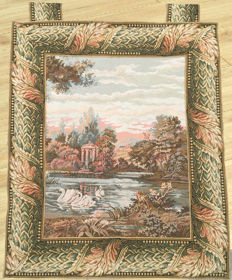 A machine woven tapestry with 18th Century Live Scenes - Mid of 20th Century - France - 87 cm x 72 cm