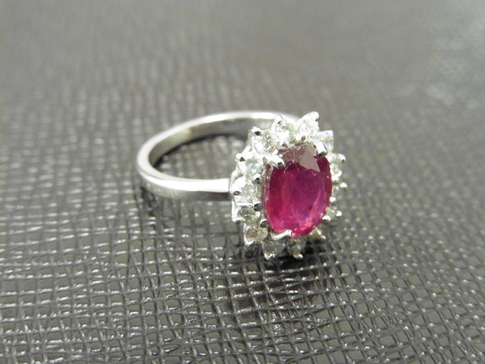 Platinum Ruby and Diamond Cluster Ring - size M EU 53