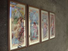 "Franklin 1917 - Four Stained Glass Mirror Prints - ""The Four Seasons - Printemps - L' Automne - L'Été - L'Hiver ""   ( Alphonse Mucha Inspiration )"