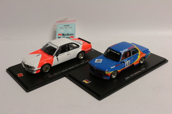 Spark - Schaal 1/43 - BMW 635 CSI Winner Macau Guia Race 1983 ´Marlboro decals´ - Limited 1000pcs & BMW 2002 Norisring 1976 - limited 300pcs