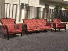 Set of Baroque Style Sofa and Two Armchairs - Modern Antique collection - Italy, 1960s