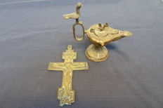Greek cross and bronze oil lamp (India), 19th century