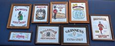 Eight vintage advertising mirrors