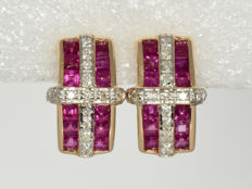Earrings in 585/1000 gold with diamonds and rubies.