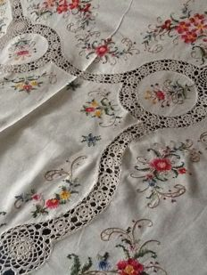 Hand embroidered tablecloth in cross stitch and crochet